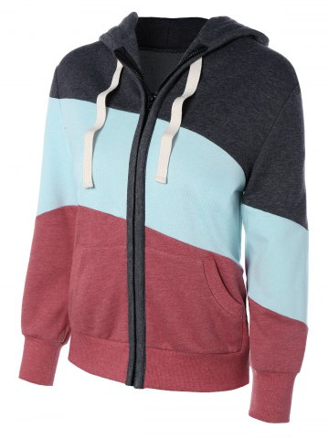 Outfit Long Sleeve Drawstring Patchwork Zip Up Hoodie COLORMIX XL