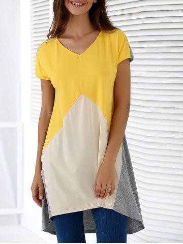 Affordable Fashionable V-Neck Short Sleeve Contrast Color Loose-Fitting Blouse COLORMIX XL