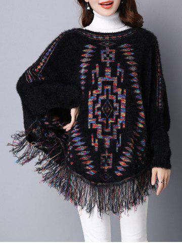 Unique Loose Dolman Sleeve Fleece Fringed Swater BLACK ONE SIZE