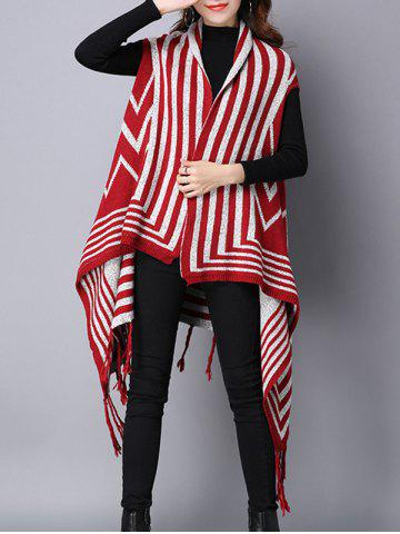 New Zigzag Stripe Fringed Asymmetric Sweater Cardigan