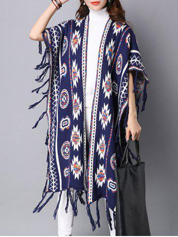 Buy Geometric Pattern Fringed Long Sweater Cape Cardigan