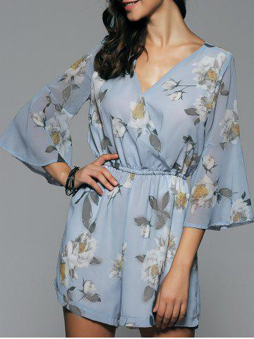 Fashion V Neck Bell Sleeve Chiffon Floral High Waisted Romper