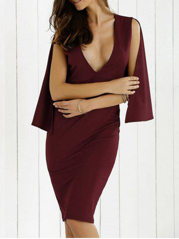 Chic Plunging Neck Cape Dress