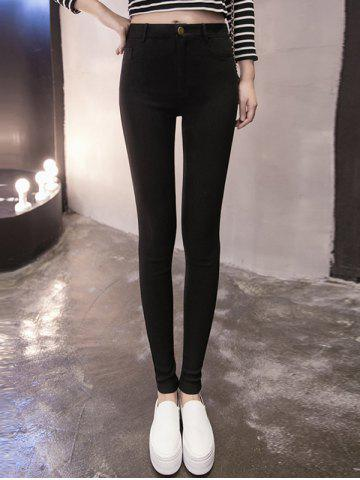 High Waisted Supper Stretchy Skinny Pants - Black - S