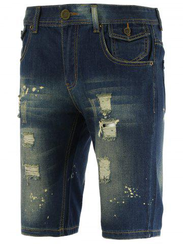 Knee Length Straight Leg Scratched Ripped Denim Shorts - Blue - 29