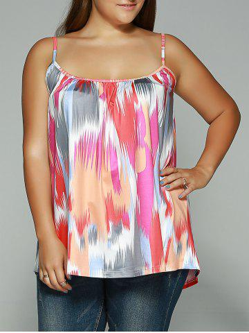 Affordable Spaghetti Strap Printed Plus Size Tank Top