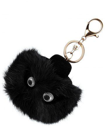 Outfits Hot Bag Keychain Faux Fur Owl Head Keyring - BLACK  Mobile