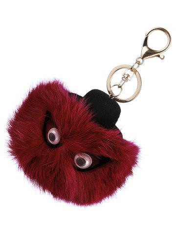 Best Hot Bag Keychain Faux Fur Owl Head Keyring - WINE RED  Mobile