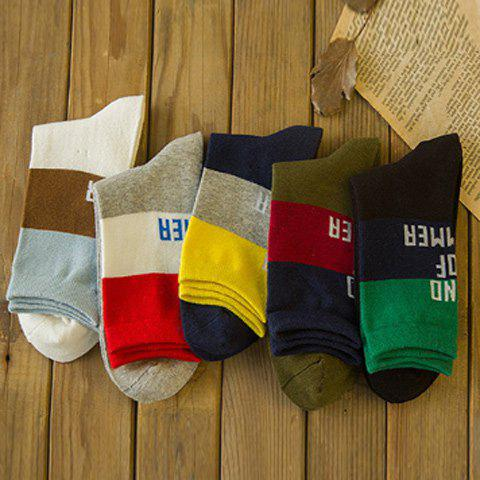 New 5 Pairs of Casual Letters and Stripe Pattern Soft Sport Socks