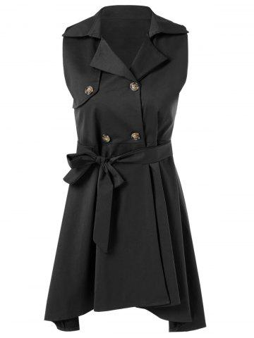 Latest Belted Sleeveless Asymmetrical Dress
