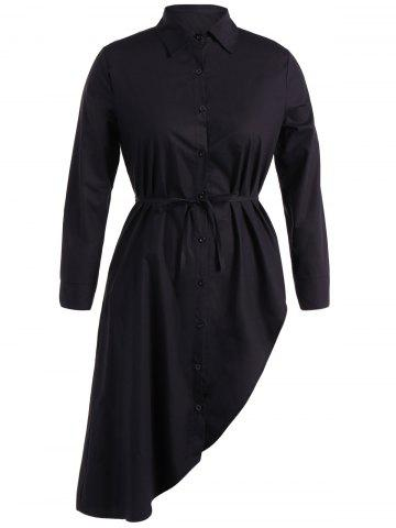 Shop Belted Asymmetrical Long Sleeve Shirt Dress