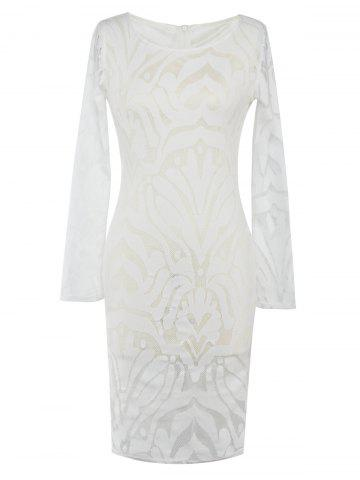 Lace Bodycon Long Sleeve Cocktail Fitted  Dress - White - M