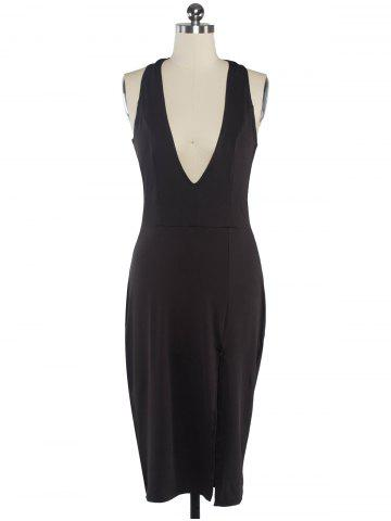 Unique Halter Plunging Neck Backless Bodycon Dress