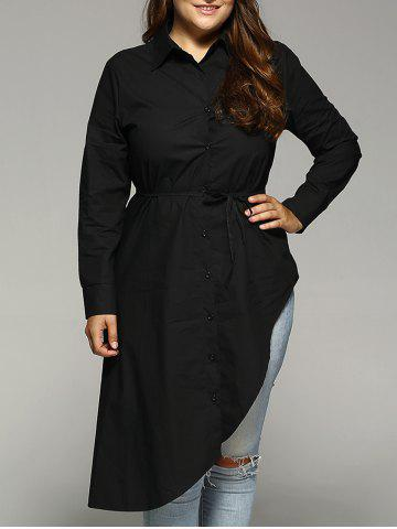 Outfits Belted Asymmetrical Plus Size Shirt Dress