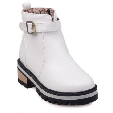 Discount Belt Buckle PU Leather Short Boots WHITE 39