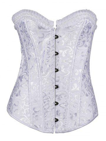 Affordable Jacquard Lace-Up Pleated Corset WHITE 6XL