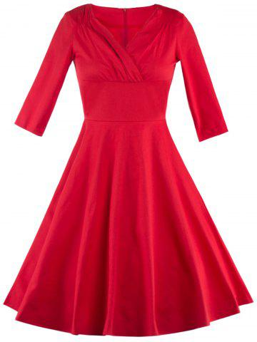 Vintage Ruched Surplice Empire Waist Formal Dress - RED 2XL