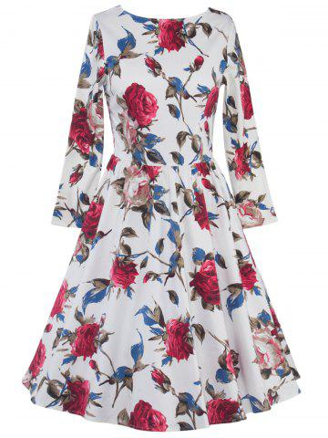 Online High Waist Floral Skater Dress with Sleeves WHITE 2XL