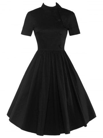 Unique High Waisted Buttoned Flare Dress BLACK 2XL