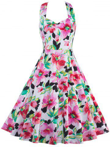 Halter High-Waisted Floral Shirred A Line Dress - Colormix - M