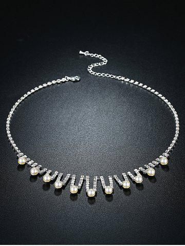 Outfits Rhinestoned Faux Pearl Wedding Jewelry Set - SILVER  Mobile