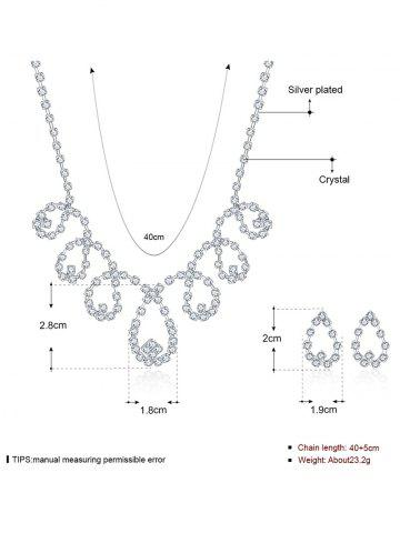 Fashion Rhinestoned Water Drop Bridal Jewelry Set - SILVER  Mobile