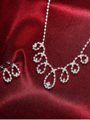 Shop Rhinestoned Water Drop Bridal Jewelry Set - SILVER  Mobile