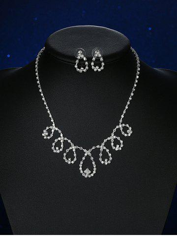 Trendy Rhinestoned Water Drop Bridal Jewelry Set - SILVER  Mobile