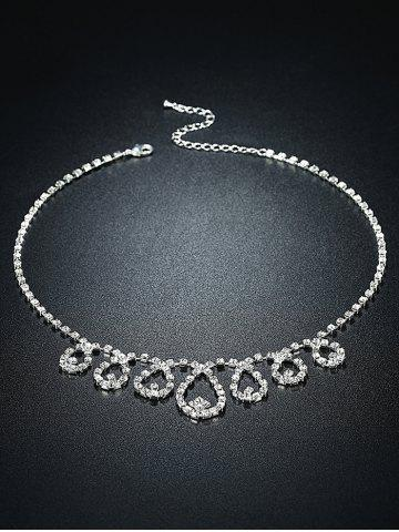 Hot Rhinestoned Water Drop Bridal Jewelry Set - SILVER  Mobile