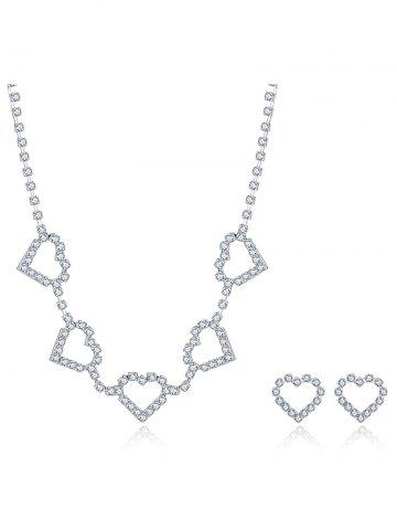 Shop Rhinestoned Heart Wedding Jewelry Set