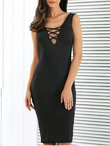 Latest Crisscross Strap Cutout Bodycon Club Midi Dress