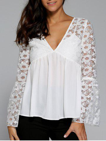 Fashion Flare Sleeve Floral Smock Blouse