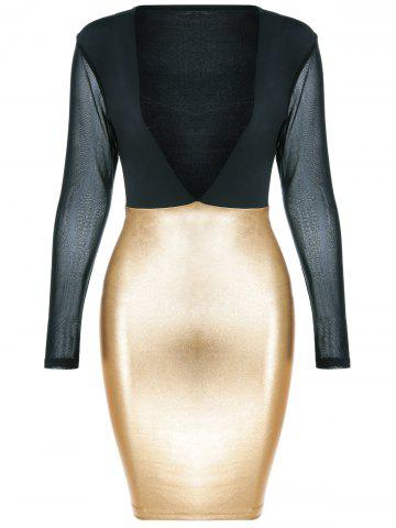 Outfits Low Cut Mesh Patchwork Pencil Dress