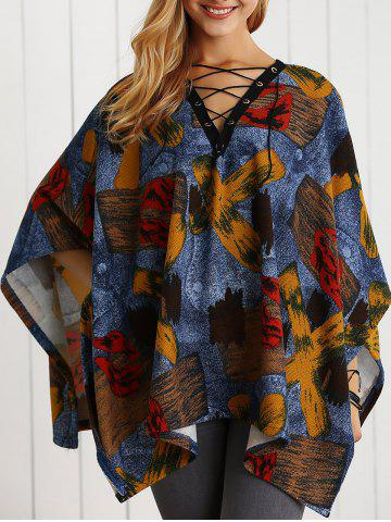 Chic V Neck Lace-Up Printed Cape Blouse