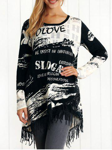 Outfit Asymmetric Letter Print Fringed Knitwear