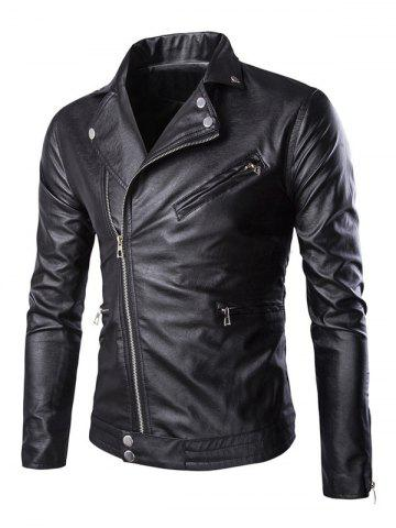 Store Side Zipper-Up Turn-Down Collar Faux Leather Jacket BLACK 5XL
