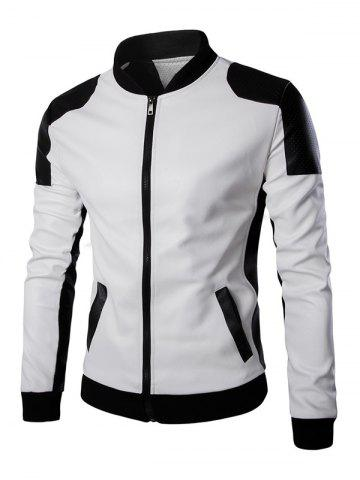 Fashion Ventilate Design Color Block Faux Leather Jacket WHITE 5XL