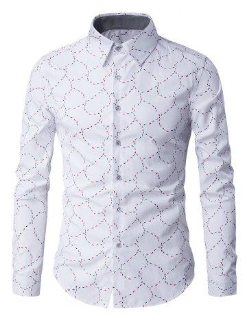 Slim-Fit Long Sleeve Abstract Pattern Shirt - WHITE 3XL