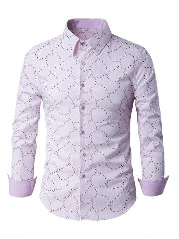 Slim-Fit Long Sleeve Abstract Pattern Shirt - Pink - M