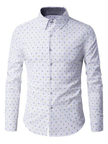 Discount Rhombus Pattern Button-Up Long Sleeve Shirt WHITE 3XL