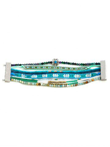 Store Faux Turquoise Seed Beaded Bracelet