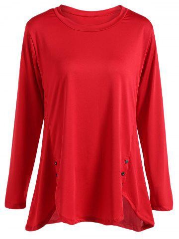 Fancy Long Sleeves Buttoned Asymmetrical T-Shirt