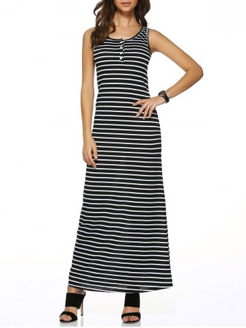 Outfit Sleeveless Buttoned Striped Dress