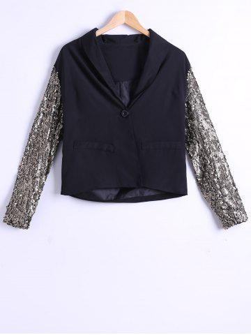 Unique Single-Buttoned Sequined Sleeves Blazer