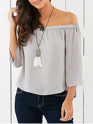 Fashion Off The Shoulder Back Bowknot Decorated Blouse LIGHT GRAY XL