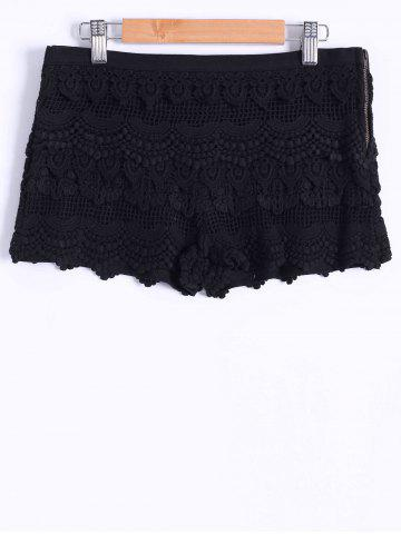 Store Guipure Tiered Mini Shorts