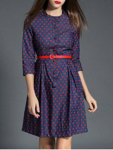 Unique Polka Dot Buttoned Belted Denim Dress
