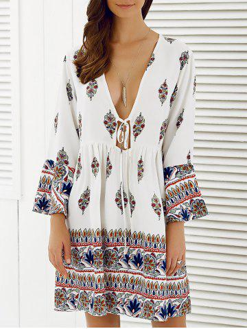Plunging Neckline Boho Style Dress - WHITE 2XL