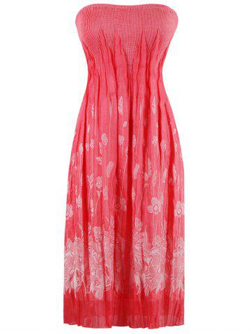 Outfit Floral Pleated Strapless Bandeau Cocktail Dress WATERMELON RED ONE SIZE