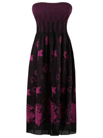 Buy Elastic Pleated Butterfly Embroidered Tube Dress